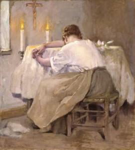 "Painting is Her First Born, by Robert Reid, 1888.πίνακας με θέμα: ""η πρώτη της γέννα"""