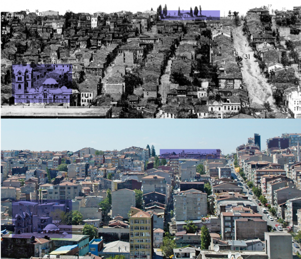 Η περιοχή Ταταύλα «χθες» και «σήμερα». Πηγή : Museum of Architecture...