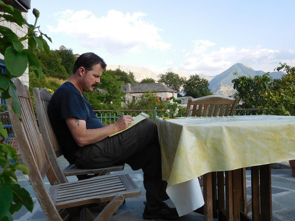 Taking notes in Vlach village of Kalarrites-Κρατώντας σημειώσεις στο βλάχικο χωριό Καλαρρύτες Ιωαννίνων (Photo by Steva Stowell Hardcastle)